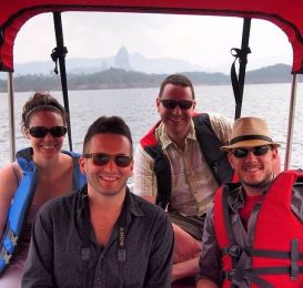 Friends and I on the lake in Guatape, Colombia.